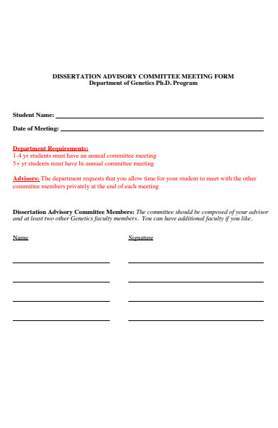 advisory committee meeting form