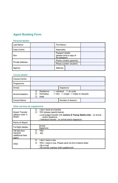 agent booking form