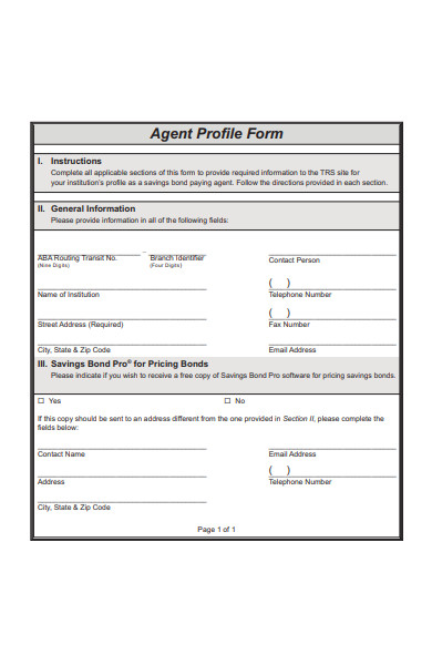 agent profile form
