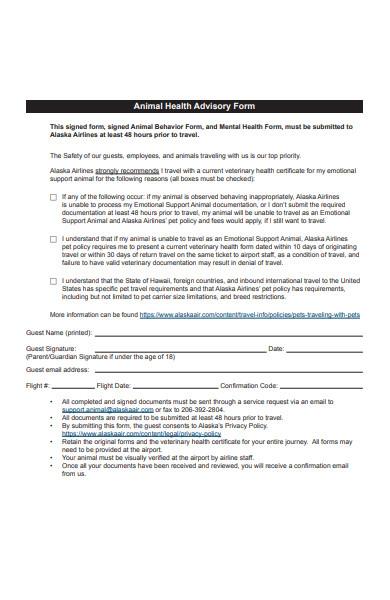animal health advisory form