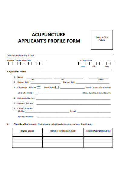 applicants profile form