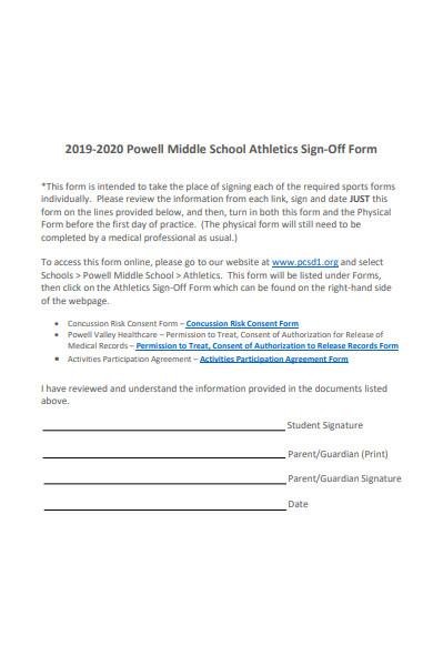 athletics sign off form