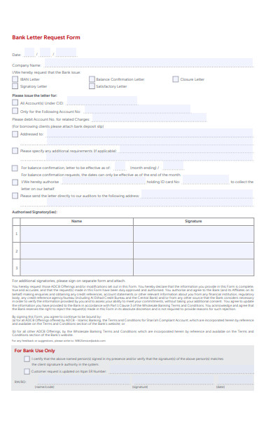 bank letter request form