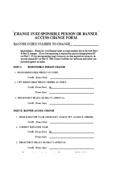 banner access change form