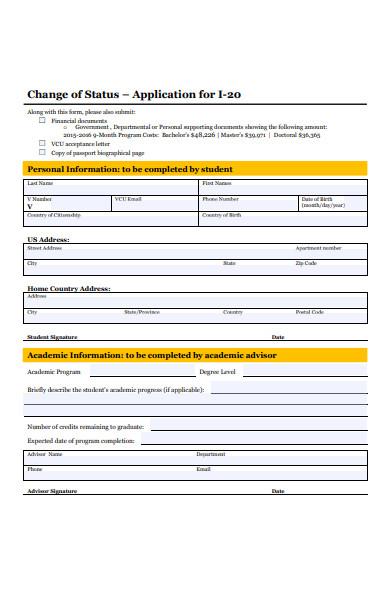 basic change of status form