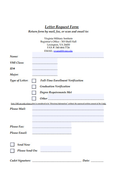 basic letter request form
