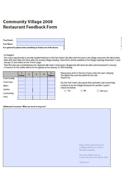 basic restaurant feedback form