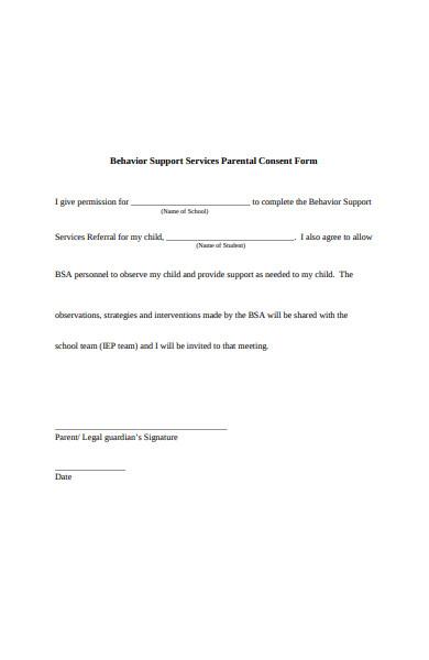 behavior services parental consent form