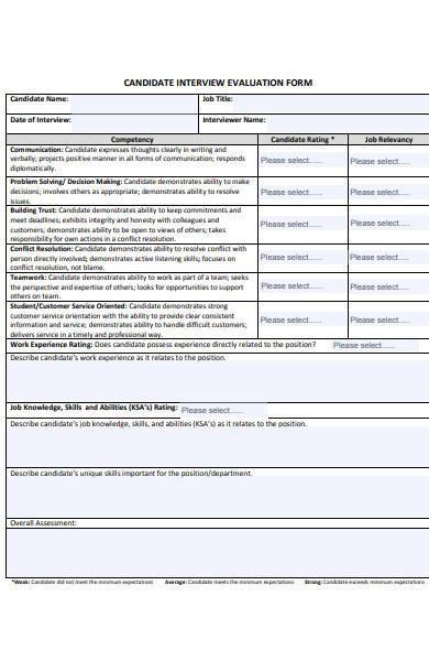 behavioural interview evaluation form