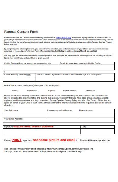 blank parental consent form