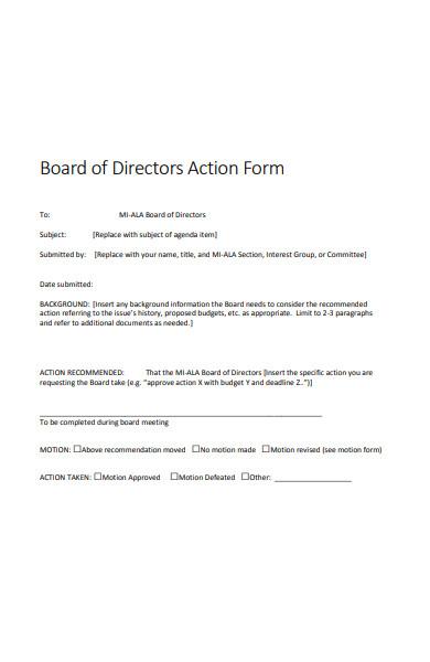 board directors action form
