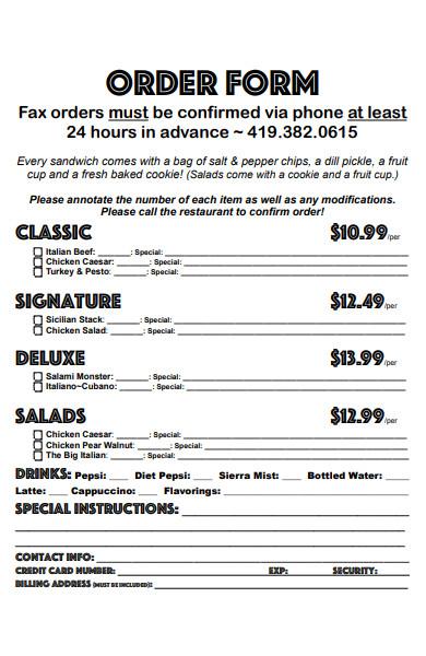 box lunch menu order form