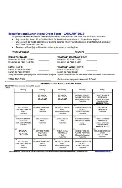 breakfast menu order form
