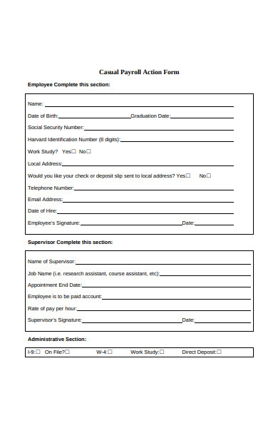casual payroll action form
