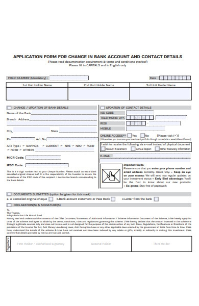change application form