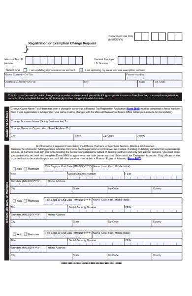 change exemption request form