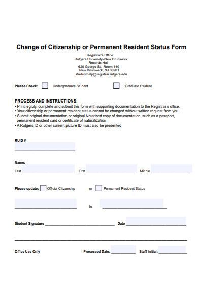change of citizenship status form