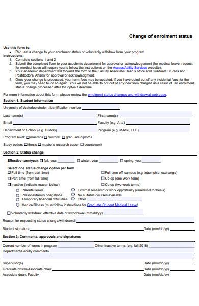 change of enrolment status form
