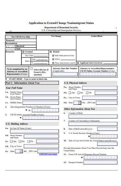 change of nonimmigrant status form