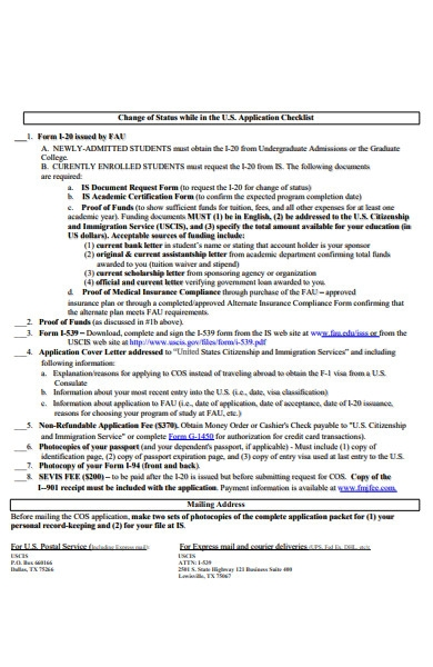 change of status checklist form