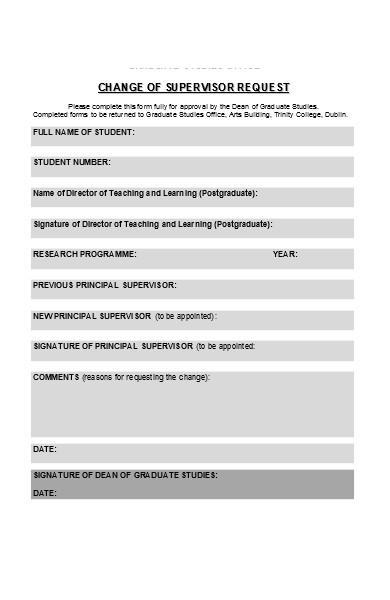 change of supervisior form