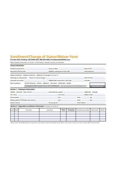 change of wavier status form