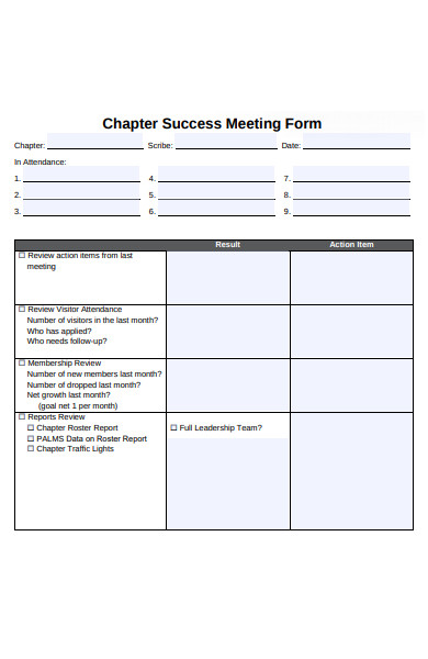 chapter success meeting form