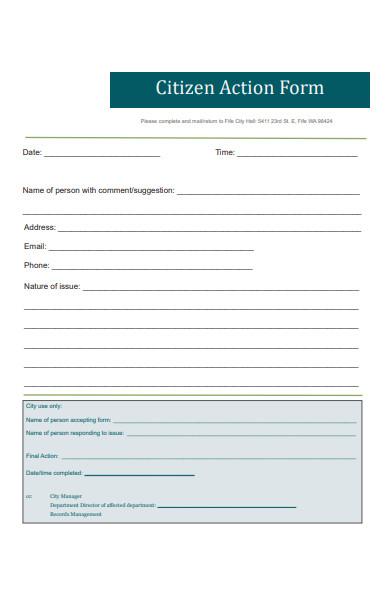 citizen action form