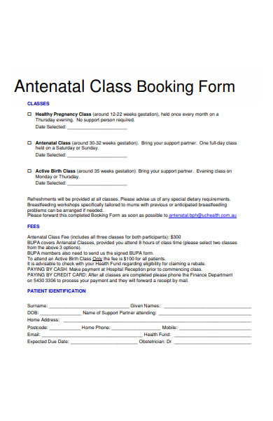class booking form