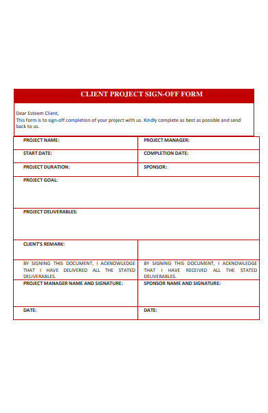 client project sign off form