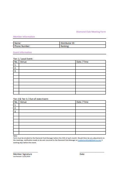 club meeting form