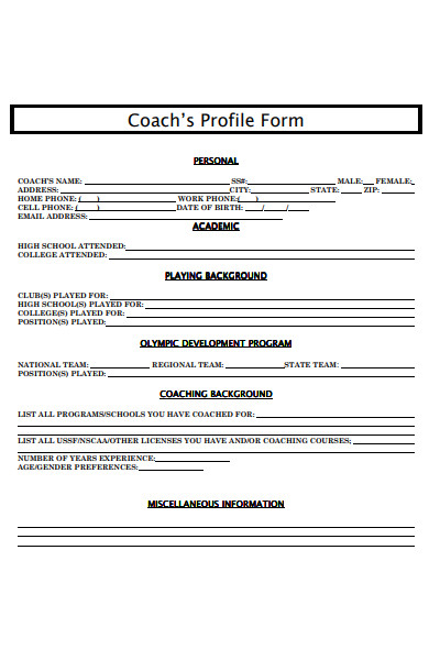coachs profile form