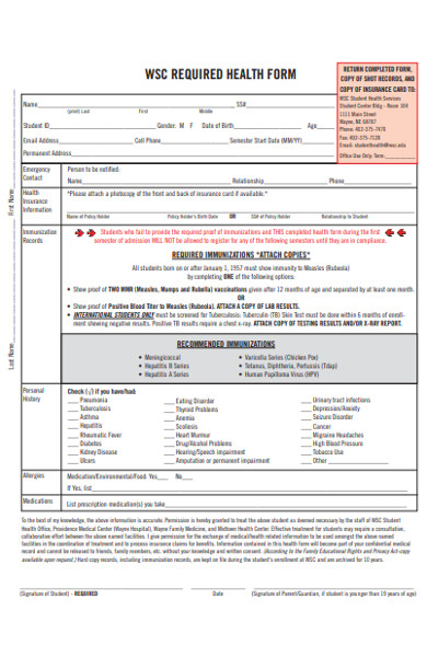 college student health form