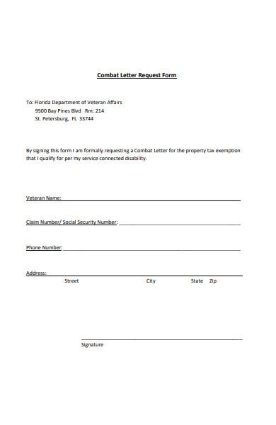 combat letter request form