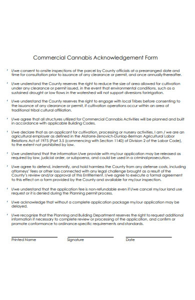 commercial acknowledgment form