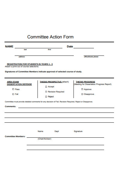 committee action form