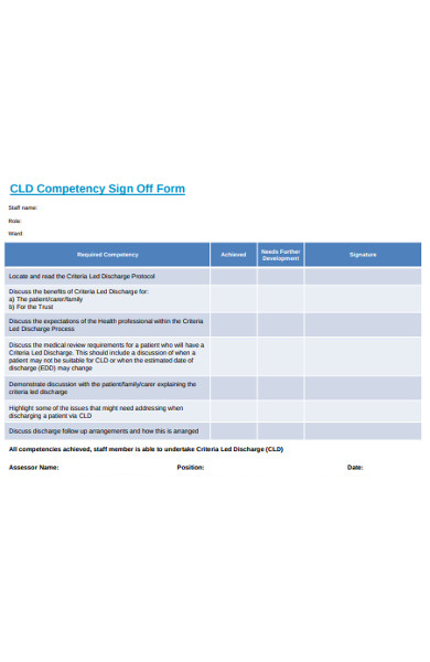 competency sign off form