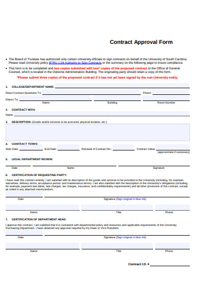 contract approval form