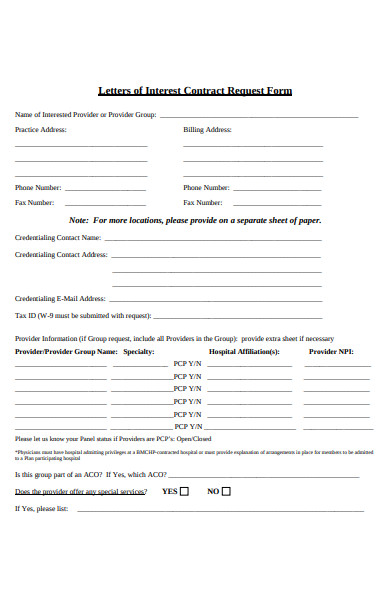 contract letter request form