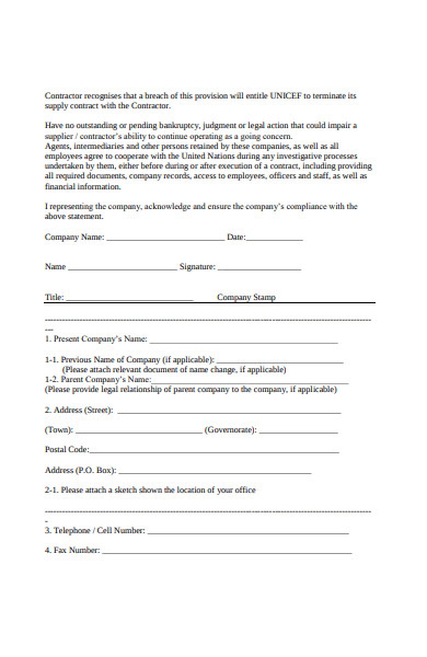 contractor profile form