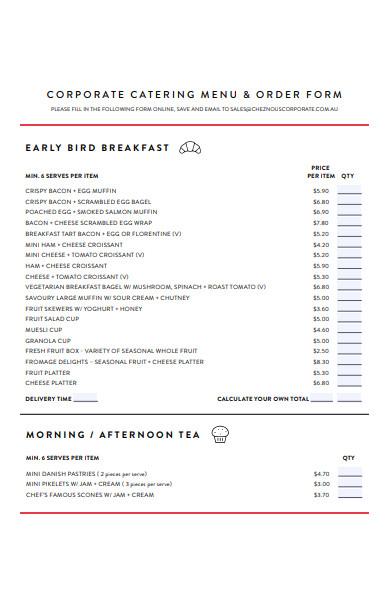 corporate catering menu form