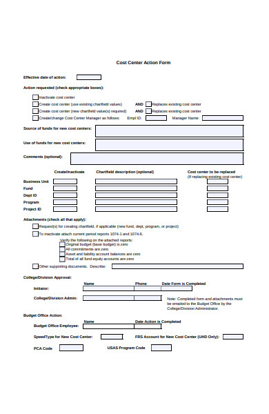 cost center action form