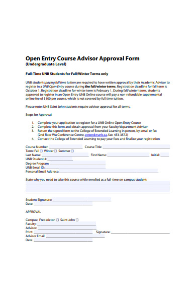 course advisor approval form