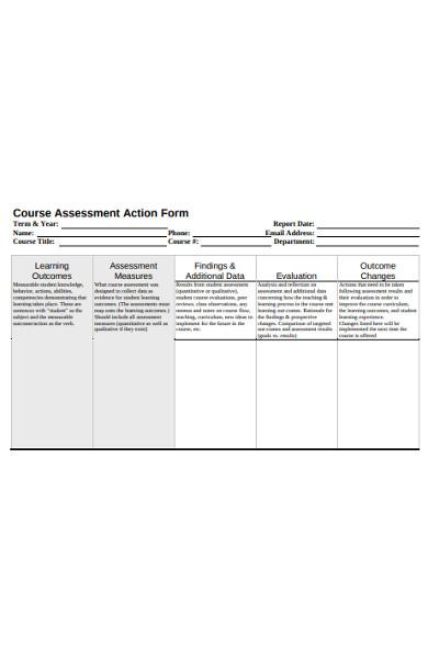 course assessment action form