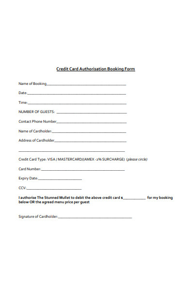 credit card authorisation booking form