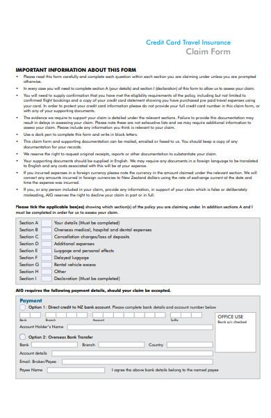 credit card travel claim form