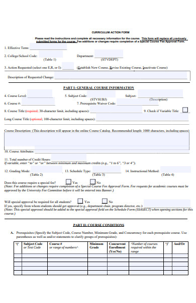 curriculum action form