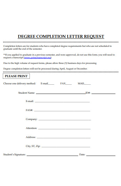 degree completion letter request form