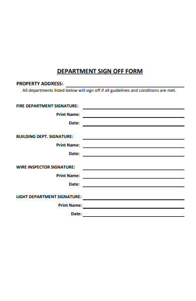 department sign off form