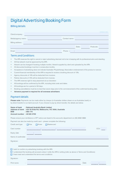 digital advertising booking form